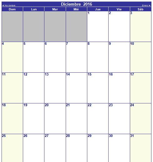 calendario de diciembre 2016