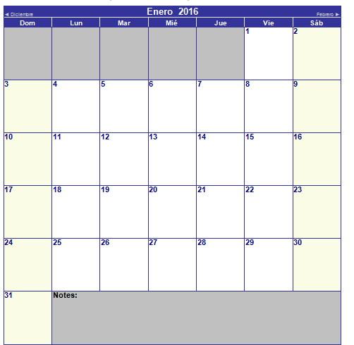 calendario de enero 2016