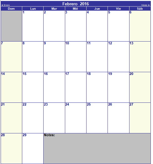 calendario de febrero 2016