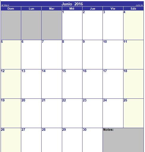 calendario de junio 2016