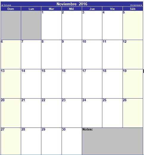 calendario de noviembre 2016