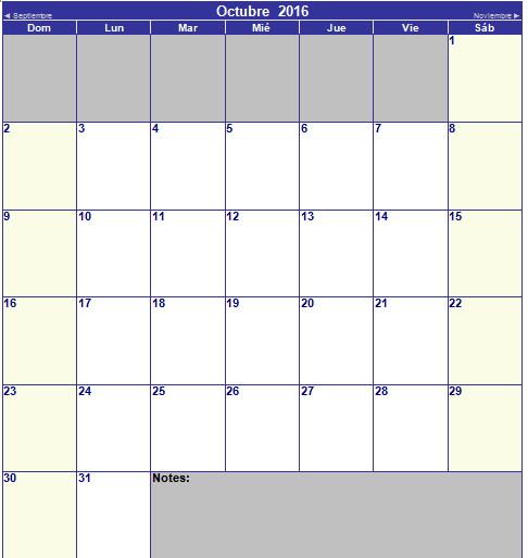 calendario de octubre 2016