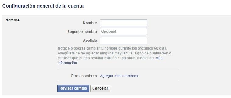 cambiar el apellido en facebook