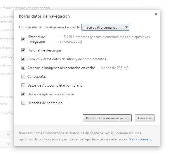 Borrar el historial en Chrome