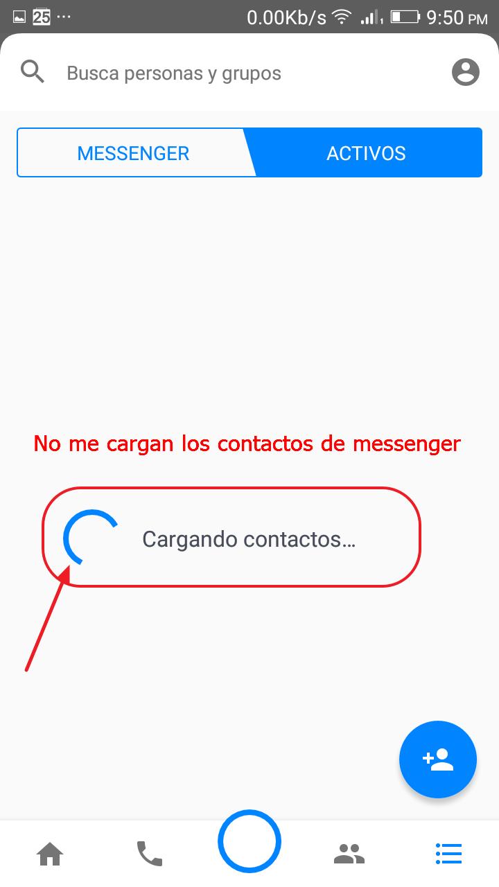 no puedo ver los contactos conectados Messenger
