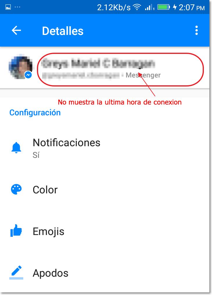 ocultar tu ultima conexion messenger