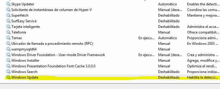 desactivar windows update en windows 10