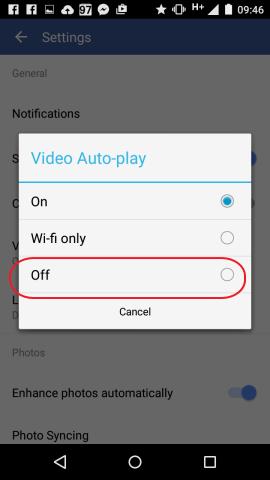 no reproducir videos automatico facebook