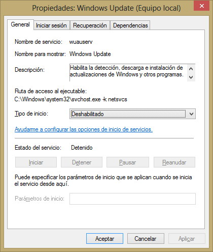 windows update desactivado