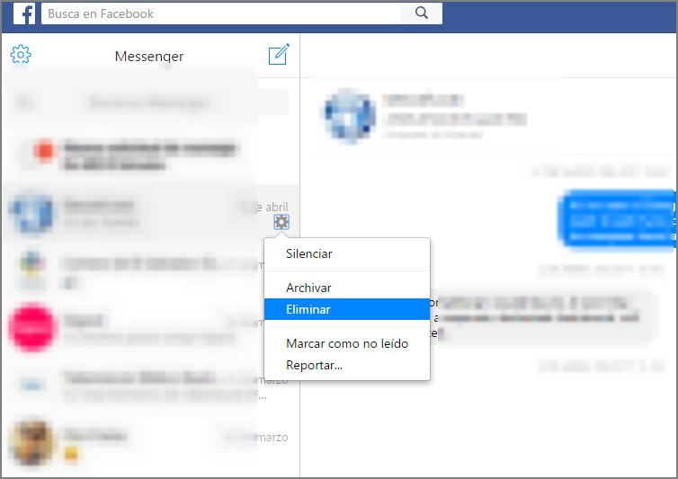 eliminar los mensajes de facebook