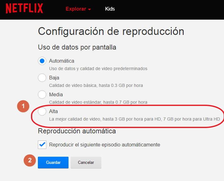 cambiar la calidad a los videos de netflix