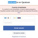 Facebook Inhabilitada recuperar