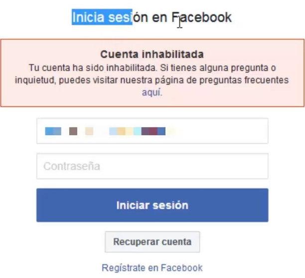 Facebook Inhabilitada recuperar