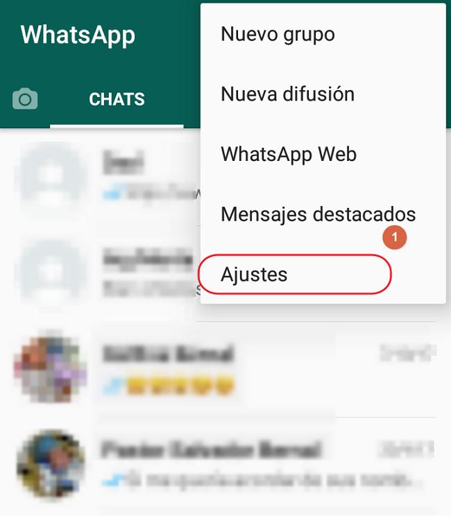ajustes de whatsapp