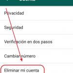 Cómo eliminar cuenta de whatsapp