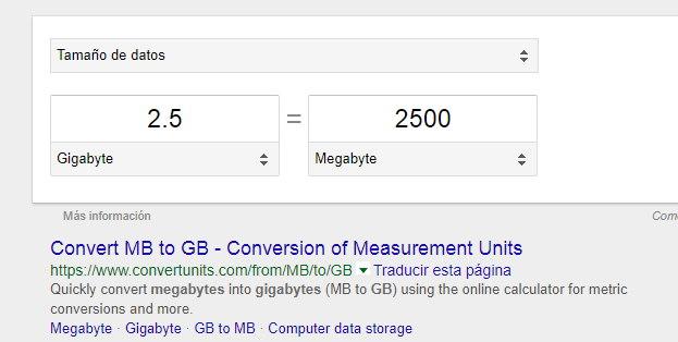 usando google para convertir mb a gb