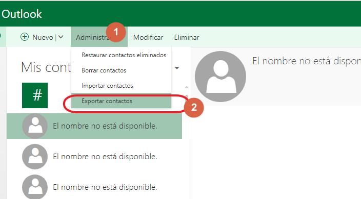 exportar contactos hotmail