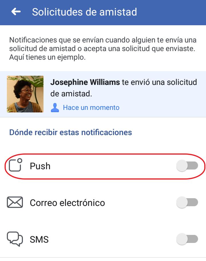 notificaciones push facebook quitar