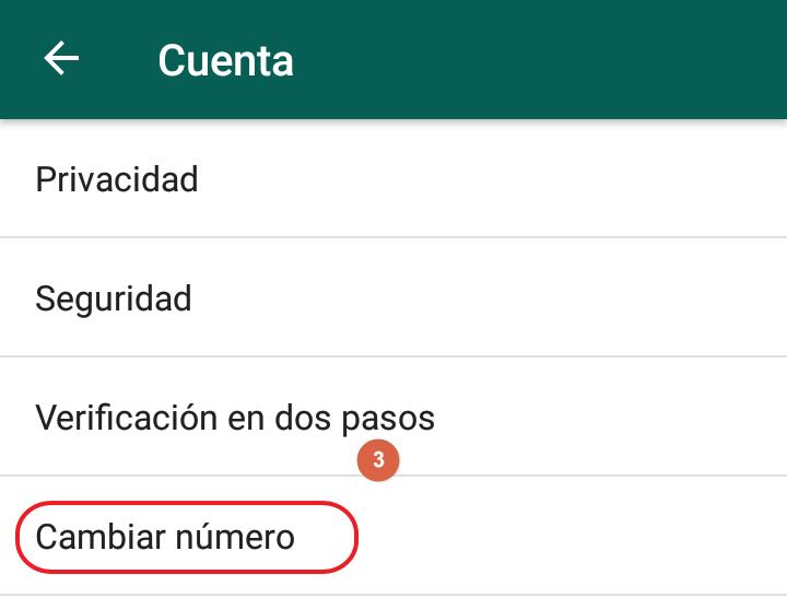 Asi se cambia el numero en app whatsapp paso 3