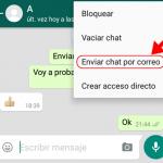 Como enviar un chat de WhatsApp por correo