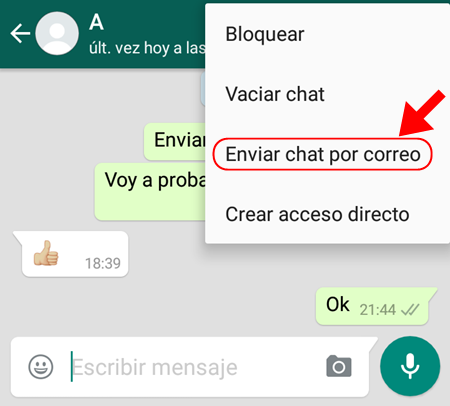 enviar chat por correo whatsapp