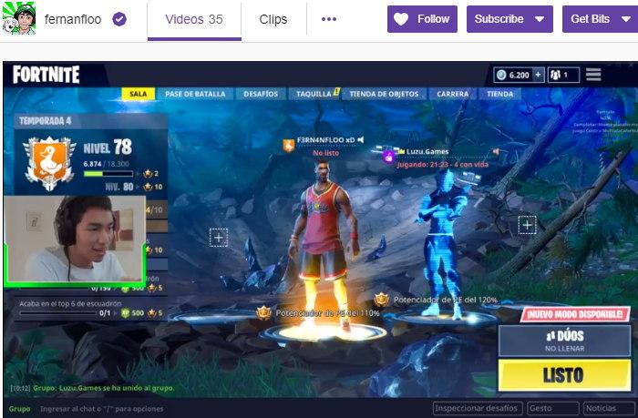 Fernanfloo jugando en Twitch