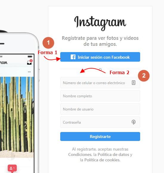 registrarse en instagram o crear cuenta