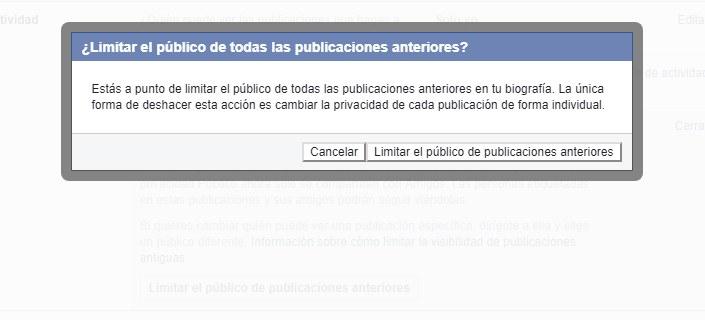 Limitar las publicaciones antiguas facebook