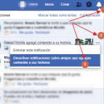 desactivar notificaciones sobre historias nuevas en facebook
