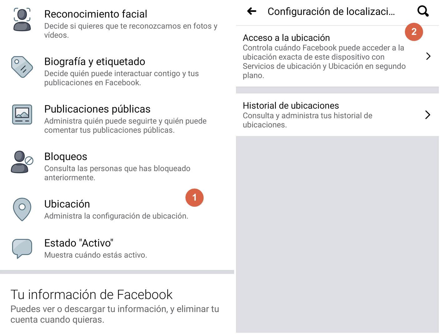 configuracion de ubicaciones en facebook