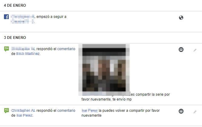 historial de tu actividad en facebook