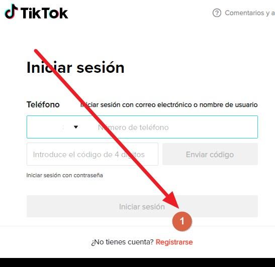 crer cuenta de TikTok paso 1
