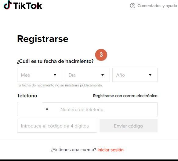 crer cuenta de TikTok paso 3