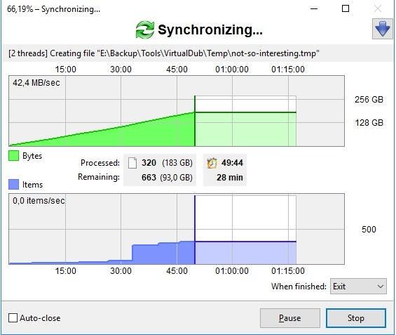 interfaz del programa de sincronizacion de archivos